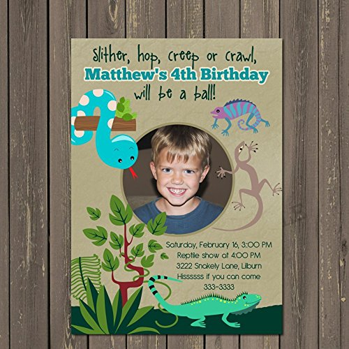 Amazon Com Reptile Birthday Invitation Reptile Party Invites Boys