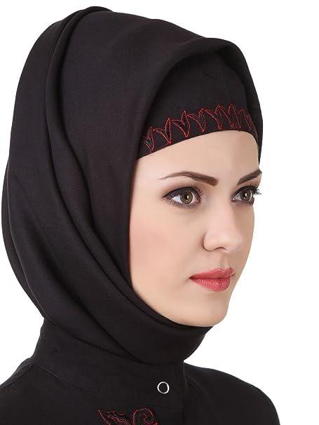 MyBatua Rayón Negro Fancy Hijab, Cuadrado y Rectangular, Envolturas, Hajj Wear, Oración Hijab HJ-071: Amazon.es: Ropa y accesorios