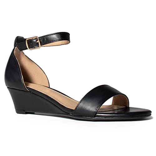 4fae84a36841 RF ROOM OF FASHION Women s Ankle Strap Low Heel Wedge Sandals Black ...