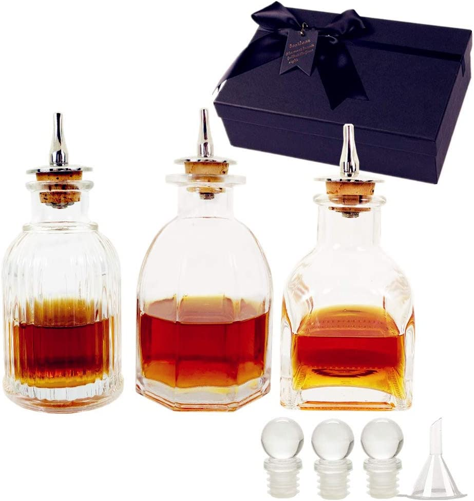 Shining Craft Bitters Bottle- Set of 3 Glass Bitter Bottle for Cocktail with Metal Dash Top,SET003 (Set of 3)