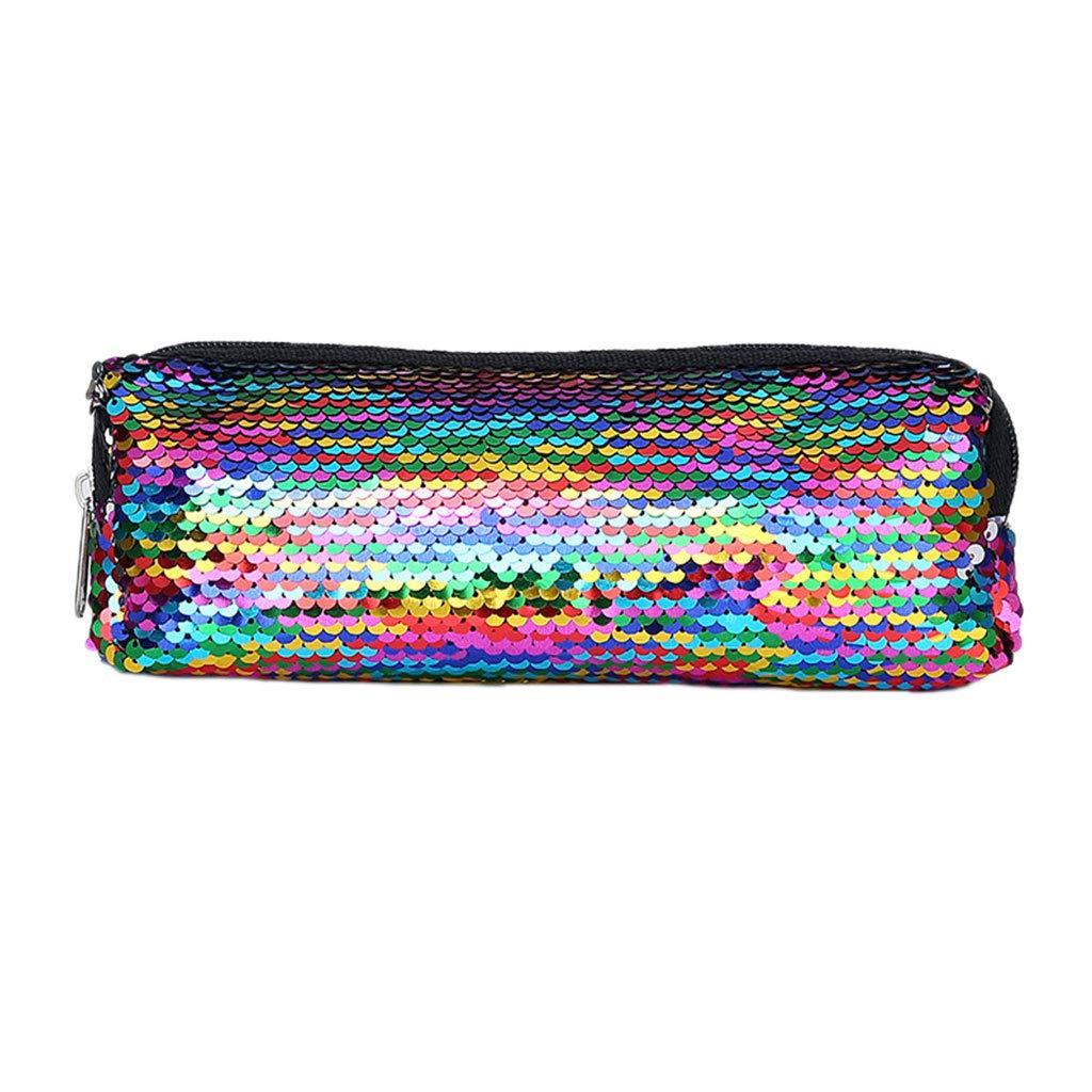 YOFO Multifunktionale Mode Glitter Pailletten Federbeutel Federmäppchen Make-Up Werkzeugtasche Aufbewahrungstasche Geldbörse