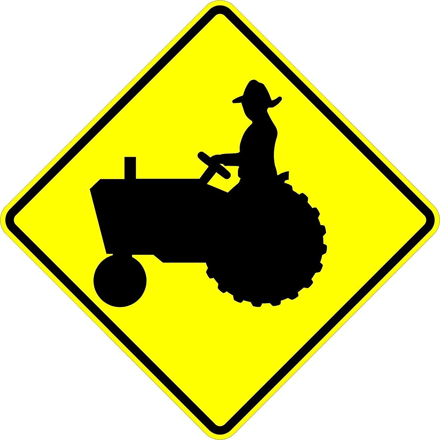 Tractor crossing sign - 24 x 24 Warning Sign. A Real Sign. 10 Year 3M Warranty