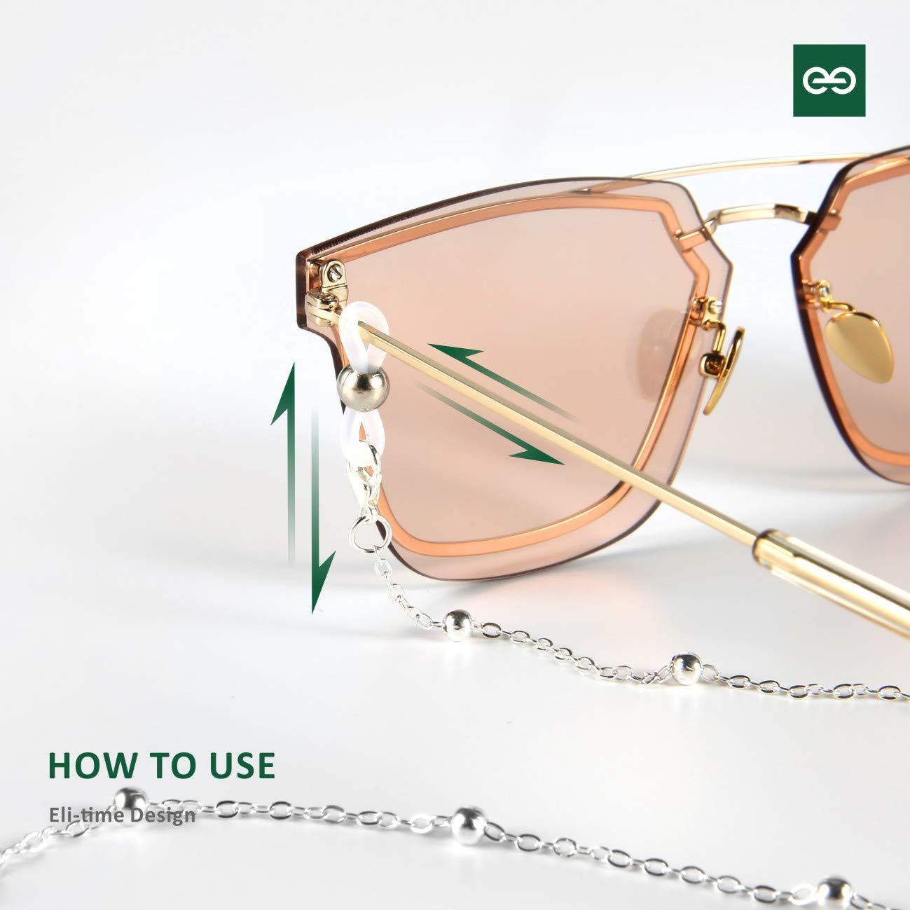 Nero//Bianco Cordino per occhiali da sole Eli-time Catena per occhiali da donna Cordini per occhiali da lettura con anello in gomma antiscivolo Cinturino per occhiali Collana da donna