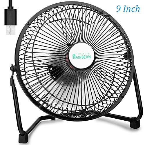 9 Inch USB Desk Fan, Metal Design USB Powered (No Battery), 2 Speeds, Strong Airflow, Quiet Operation, Perfect Personal Cooling Fan for Camping Travel Home Office by RAINBEAN