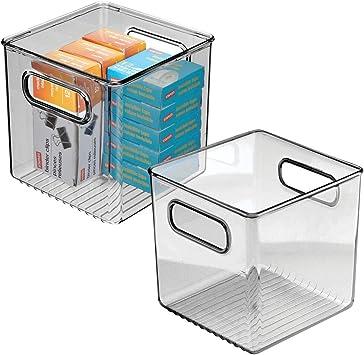 "Smoke Gray 6/"" Wide 4 Pack mDesign Plastic Home Office Storage Organizer"