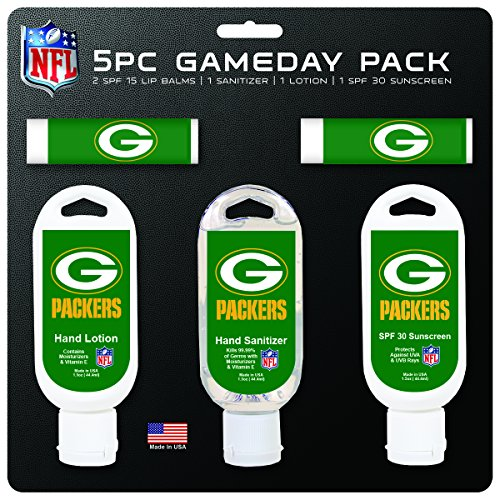 NFL Green Bay Packers Game Day 5-Pack with 2 Lip Balms, 2 Hand Sanitizers, 1 Hand Lotion (Bay Packers Green Comforter Jersey)