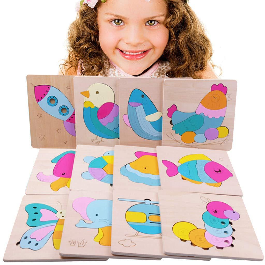 Canifon Entwicklung Baby Spielzeug 3D Aus Holz Puzzle Karikatur Lernen Pädagogisches Kinderspielzeug