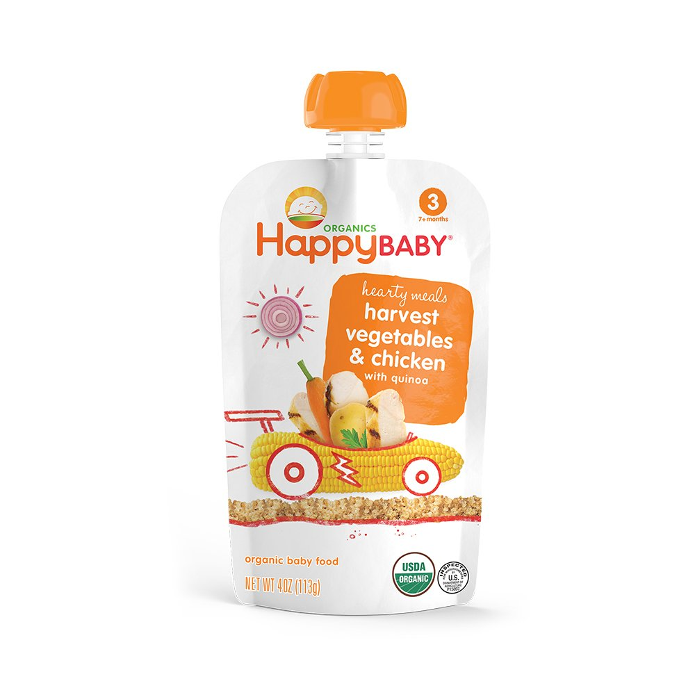 Happy Baby Organic Stage 3 Baby Food Hearty Meals Harvest Vegetables & Chicken with Quinoa, 4 Ounce Pouch Baby Food Pouches, 2g Fiber, Rich in Vitamin A, Non-GMO Gluten Free No Added Sugars