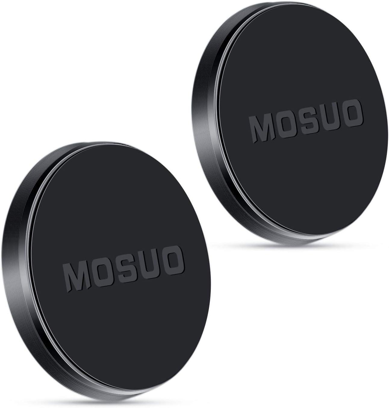 MOSUO 2 Pack Soporte Movil Coche Magnético, Universal Iman para movil Coche para Salpicadero/Pared/Superficies Planas, Soporte Teléfono Coche para iPhone/Samsung/Echo Dot/LG/GPS -Negro