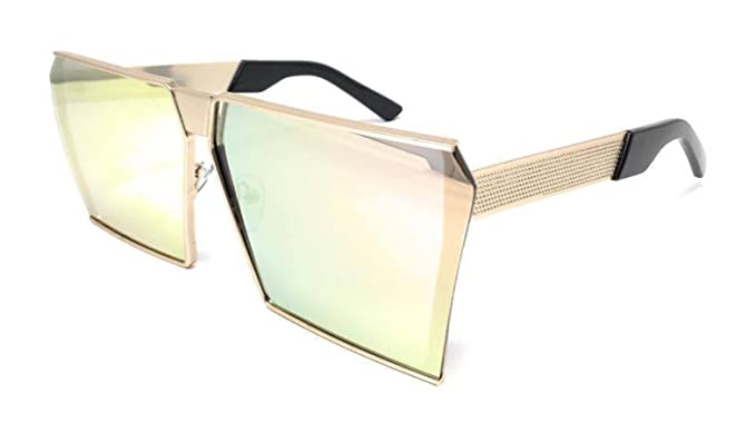 5c4ccb2b83 Oversized Flat Top Square VINTAGE RETRO SHIELD Style Aviator SUNGLASSES  (GOLD