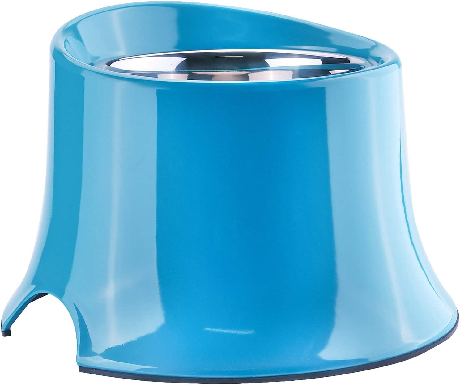 Super Design Elevated Dog Bowl Raised Dog Feeder for Food and Water, Non Spill Edges & Non Skid Sturdy Melamine Stand, Reduce Neck Stress, Less Regurgitating and Vomiting 1 Cup Blue