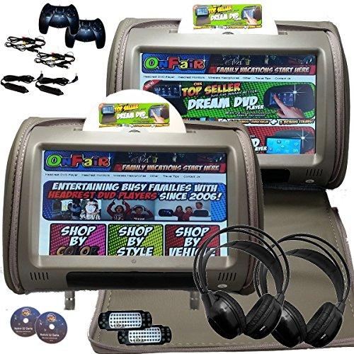 Gray Headrest (2x Autotain Dream 9 inch Digital Touch Screen Headrest DVD Player Monitor GREY GRAY)