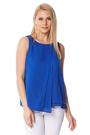 1858f1a3120 Roman Originals Women Double Layer Wrap Front Asymmetric Top - Ladies Light  Sleeveless Tops - Female Office Smart Summer Going Out Evening Holiday ...