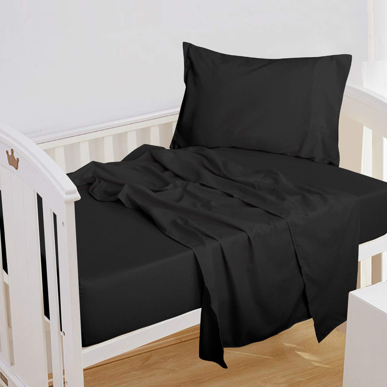 NTBAY 3-Piece Toddler Sheet Set, Microfiber Fitted Sheet, Flat Sheet and Envelope Pillowcase, Crib Sheets Set, Toddler Bed Set, Baby Bedding Sheet & Pillowcase Sets (Black, Toddler)