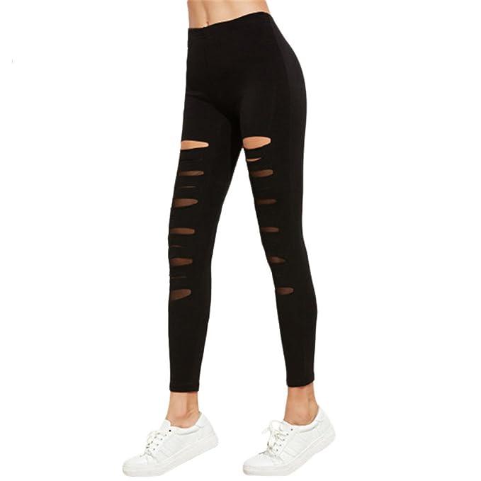 d058a42216fc4 Kaur Fashion Hole Leggings Women Fashion Elasticity Workout Leggings Pants  Trendy Fitness Leggings, OneSize, Black at Amazon Women's Clothing store: