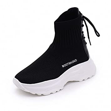 Lucdespo Ladies Casual Sports Shoes Botas Estudiantes Caminata Estilo High Tide Calcetines Zapatos Hip-Hop