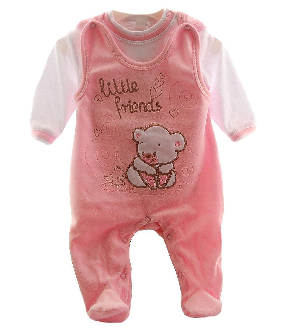 Malgosia A/&O Baby Samt Strampler Set 56 62 68 74 Nicki Stramplerhose /& Shirt Creme//Hase