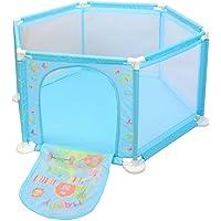 deAO Lekhage & Bollgrop lekset för barn & småbarn med 50 bollar (Blå hexagon)