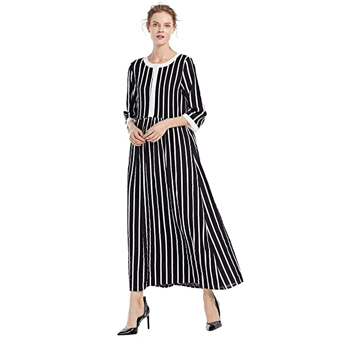 1be3cf6532 iNoDoZ Women's Casual Long Sleeve Vintage Linen Cocoon Printed Loose Long  Maxi Dress Black
