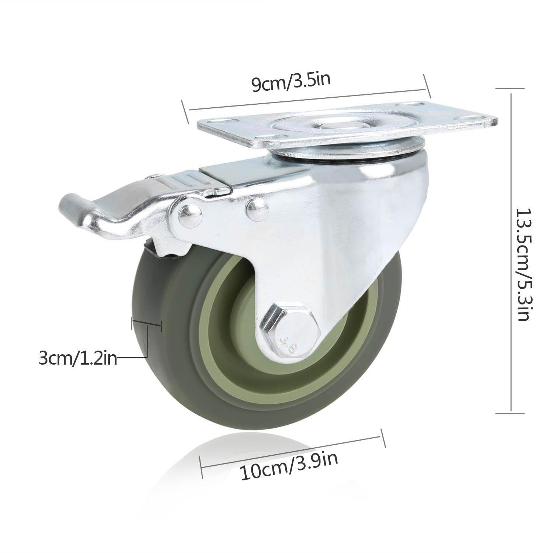 Voluker Roulette Pivotante avec Frein 100mm Gris Lot de 4 Roulettes pour Meubles avec Capacit/é de Capacit/é de 400kg
