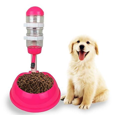 Lorenlli Mascotas Gatos Perros Bebedero de Agua Dispensador De plástico Soporte de Comida Alimentador Plato Tazón