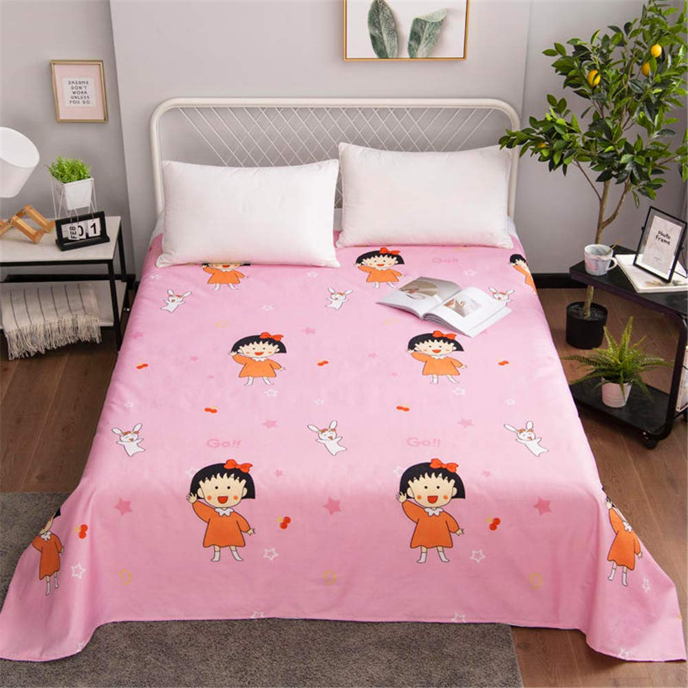 Aloe Vera Cotton Single Student Dormitory Single Bed Double Bed Simple Style Design Sweat-Absorbent Breathable Soft and Comfortable Skin-Friendly Chibi Maruko 120230cm by iangbaoyo