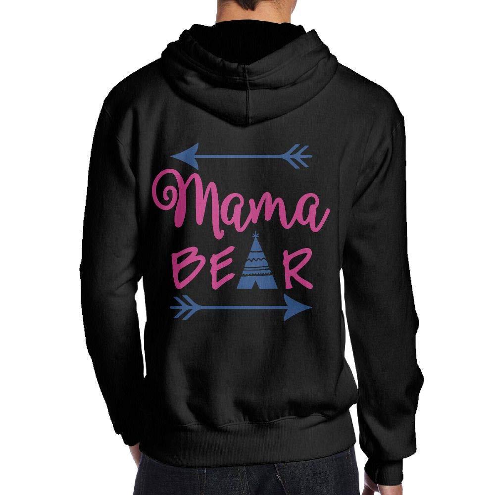 JHDKDGH-N Mama Bear Back Print Long Sleeve Hoodie Man