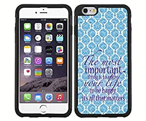 """Baby Blue and Cream Antique Pattern Background with Purple Quote """"The Most Important Thing Is to Enjoy Life, and to Be Happy. It's All That Matters."""" RUBBER Snap on Phone Case (iPhone 6)"""