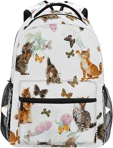 Nander Backpack Travel Lovely Cat Flower Butterfly School Bookbags Shoulder Laptop Daypack College Bag for Womens Mens Boys Girls