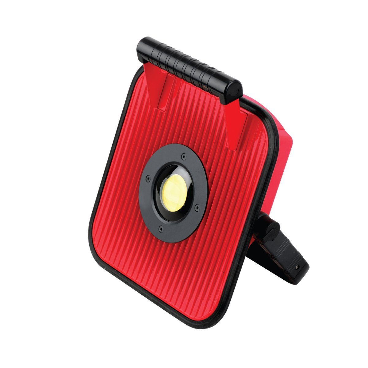 Globe Electric 66208 LED Portable Rechargeable Battery Worklight with Bluetooth Speaker & USB Port, Red/Black