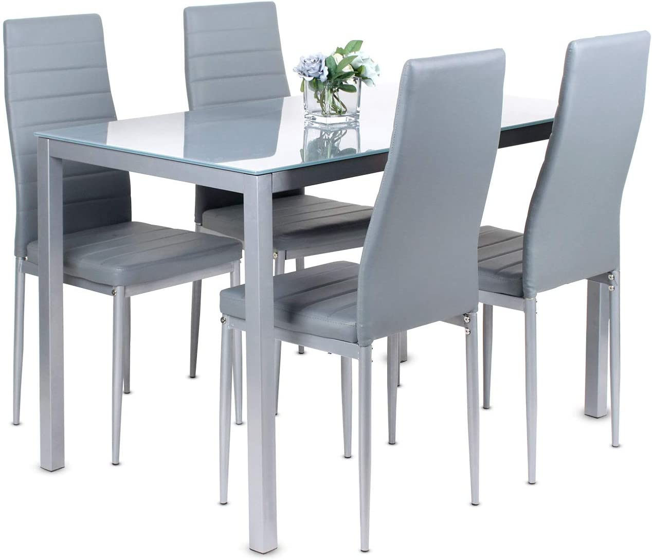 Dining Table and Chairs Set of 10,Glass Grey Kitchen Table and 10 Faux  Leather Padded Chairs Kitchen Dining Table Set