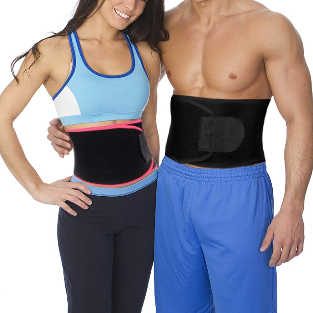 XRUSH Waist Trimmer,Exercise Trainer Adjustable Weight Loss Belt Stomach Fat Burner with Low Back and Lumbar Support with Sauna Suit Effect for Workout Weight Lifting Yoga (Black, Large - 45''x9'')