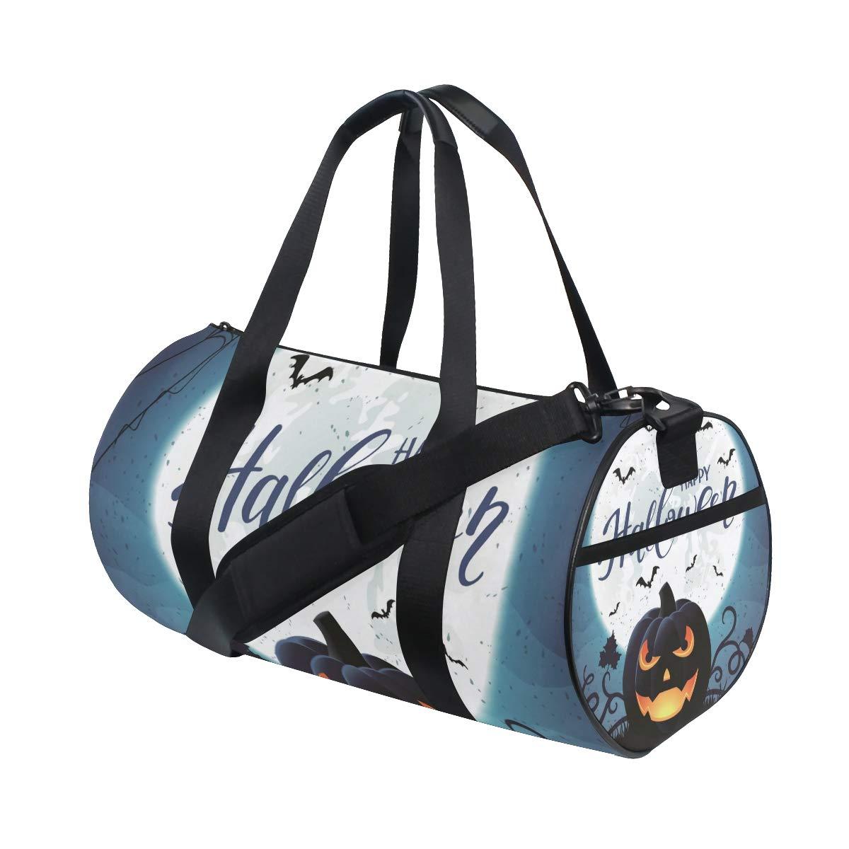 4da10df6a6 Amazon.com  Gym Duffel Bag Halloween Jack-O-Lantern Full Moon Sports  Lightweight Canvas Travel Luggage Bag  AHOMY