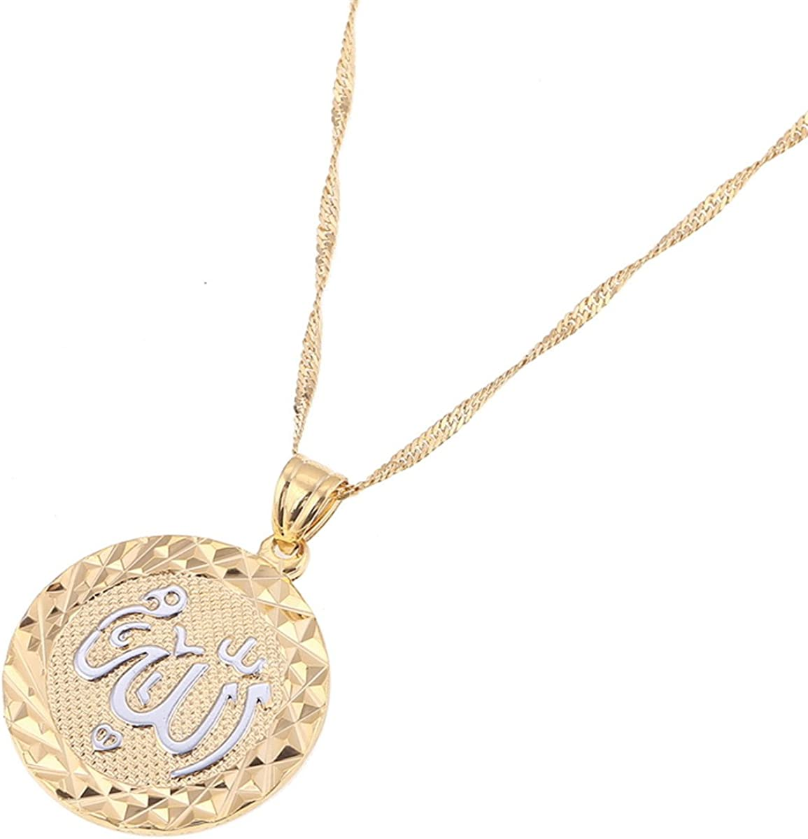 Platinum 24K New Islamic Allah Pendant Charms Choker Necklace Religious Muslim Jewelry