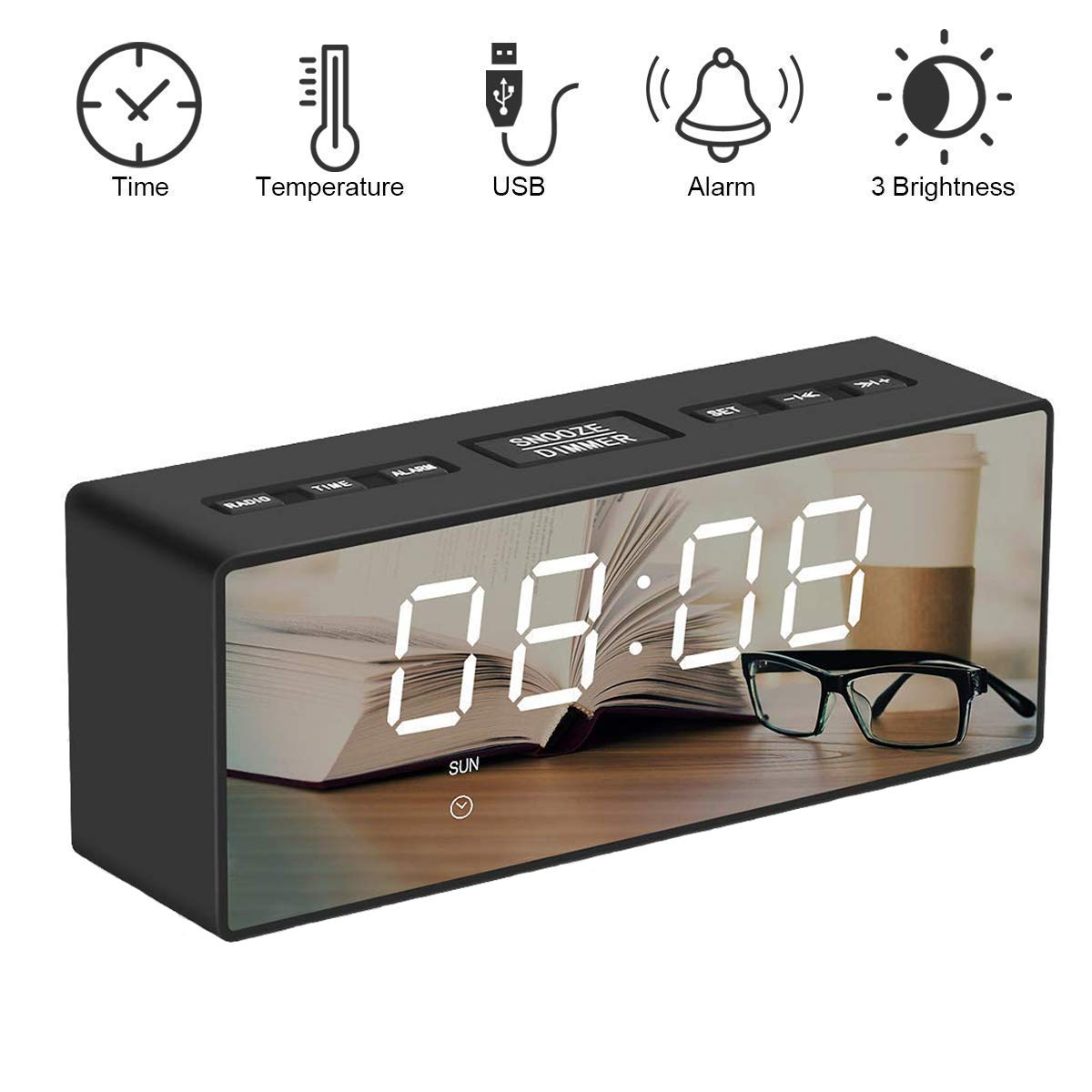 SUNSEATON Digital Alarm Clock with FM Radio Dual USB Port Charging Office Portable Mirror LED Display with Time//Date//Temperature Function Dual Alarms 3 Adjustable Brightness for Bedroom