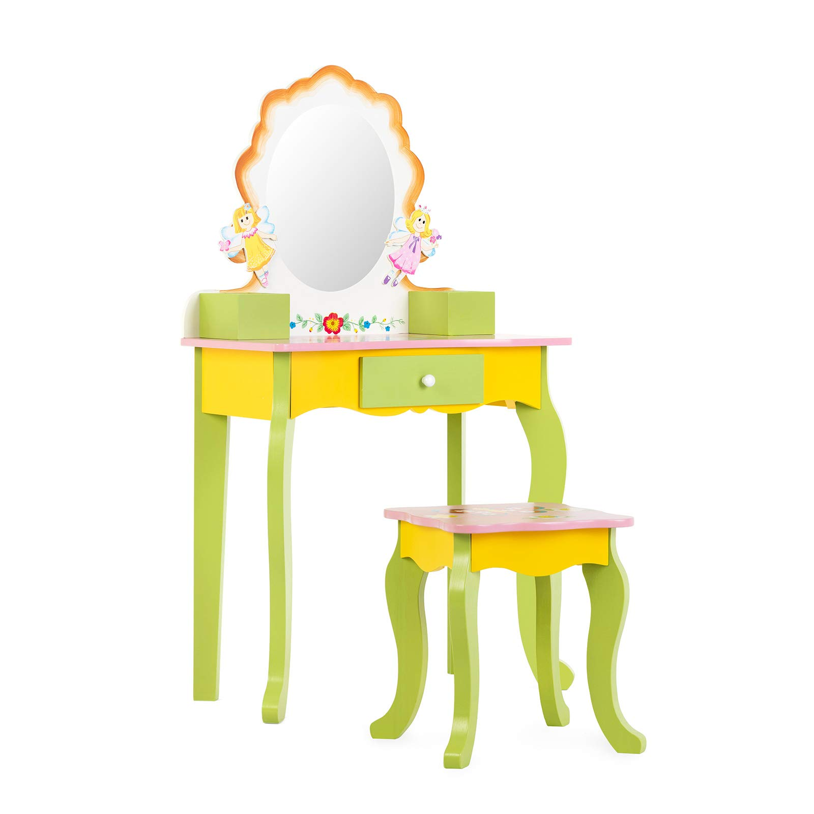 Mecor Kids Vanity Set with Stool,Little Girls Princess Makeup Dressing Table with Drawer/Mirror,Hand Painted Vanity Desk for Children Yellow&Green