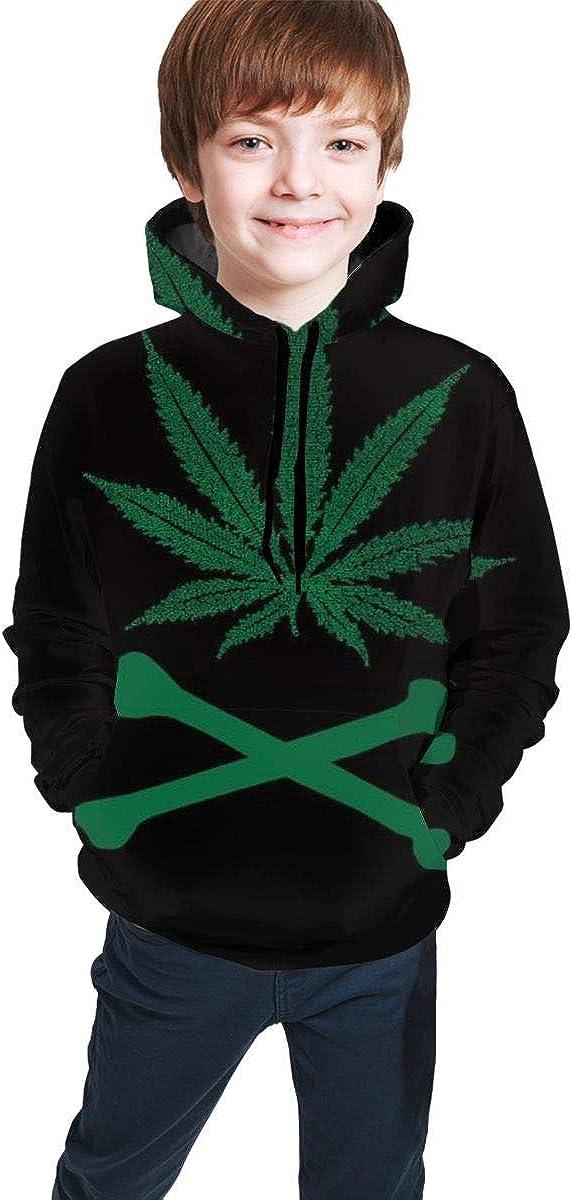 Kjiurhfyheuij Teen Pullover Hoodies with Pocket Marijuana Soft Fleece Hooded Sweatshirt for Youth Teens Kids Boys Girls