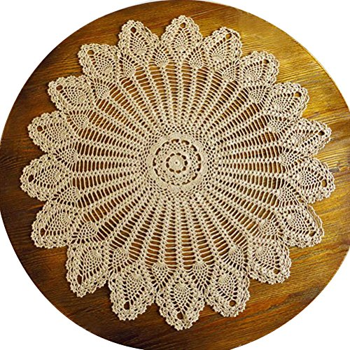 Mmei 31 Inches Handmade Crochet Pure Cotton Tablecloths Round Table Cover Lace Table Covering Doilies for Furniture Decor Weddings Designer Table Clot…