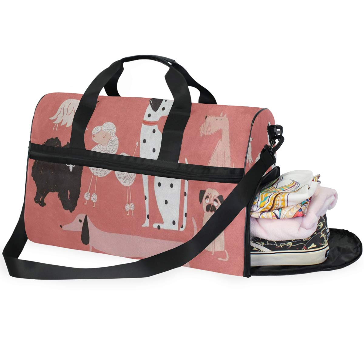 Cartoon Camel Palm Leave Large Canvas shoulder bag with Shoe Compartment Travel Tote Luggage Weekender Duffle Bag