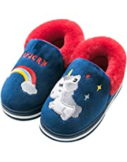eccbox Gilrs Boys Cute Unicorn Slippers Winter Warm Plush Fleece House Slippers for Kids Soft Comfy Memory Foam Home Shoes (Toddler/Little Kid)