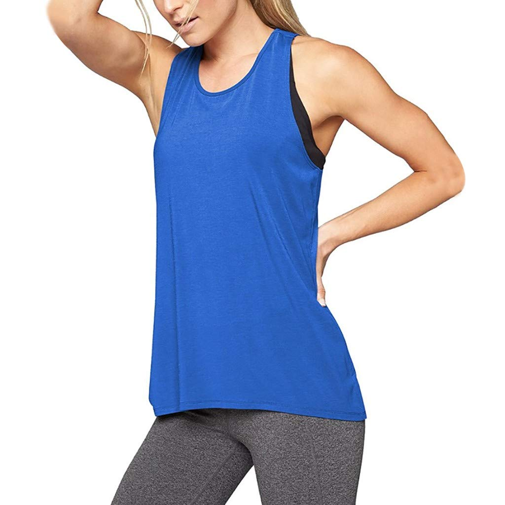 Leoy88 Women Training Yoga Gym Waistcoat Blouses Running Jogger Sport Vest Tops Blue by Leoy88 (Image #1)