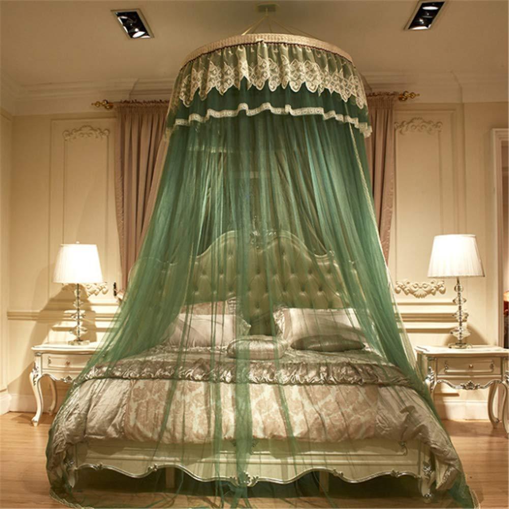 蚊帳ベッドフレーム高級折りたたみ直径1.2メートルラウンドポータブルポリエステル飾るブリーザーぶら下げ蚊帳,green B07SDKH8FP green
