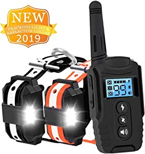 HISEASUN Dog Training Collar with Remote for 2 Dogs Range 1600 Ft Waterproof Rechargeable Shock Collar with Remote for 2 Dogs