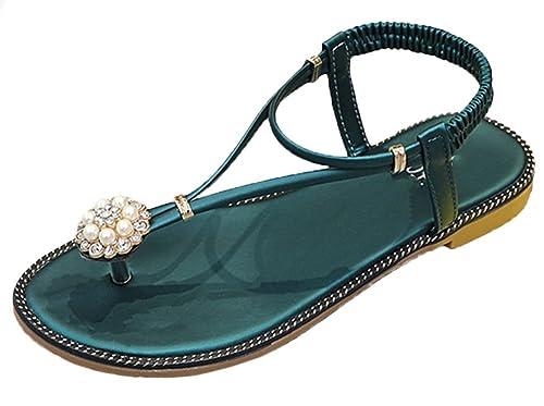 Flores diamantes de imitación decoración sandalias flip suaves zapatillas plana chanclas niñera sandalia T-correa