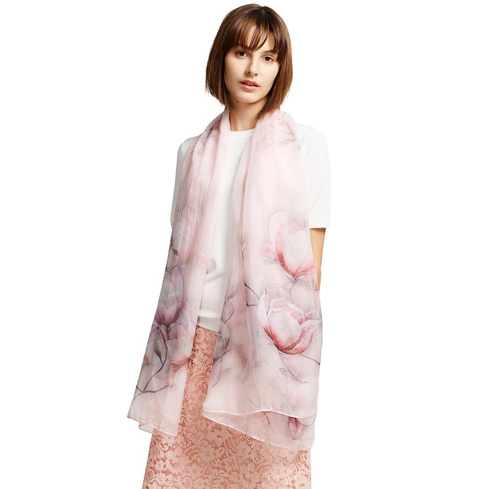 Jeelow Silk Scarfs Oblong/Shawl/Sheer/Chiffon For Women 100% Silk Lightweight Scarves Shawls Wraps Oblong (Pink Floral)