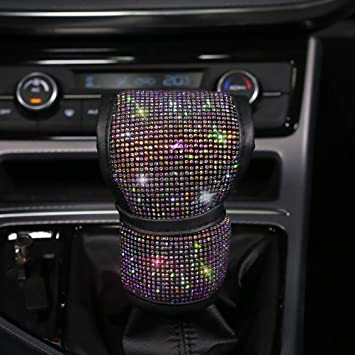 car gear shift cover Bling Bling Auto Shift Gear Cover Luster Crystal Car Knob Gear Stick Protector Diamond Car Decor Accessories for Women