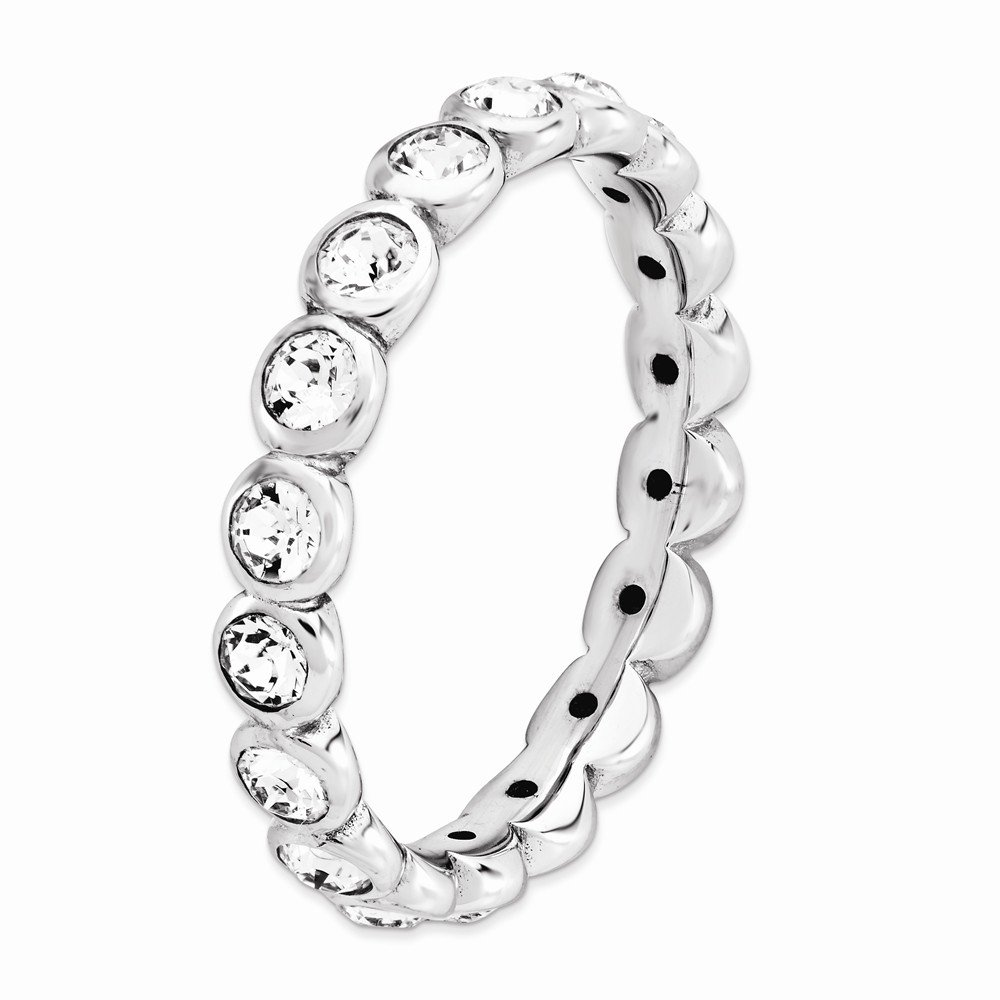 Sterling Silver Eternity Ring Solid Polished Rhodium 3.5 mm 3.5 mm Stackable Expressions April Swarovski Ring