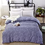 Zhiyuan Constellation Pattern Twill Washed Cotton Duvet Cover, Grey, Queen