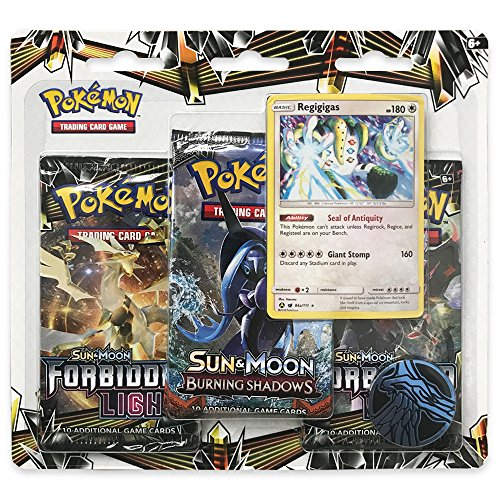 - Pokemon TCG: Sun & Moon Forbidden Light - Regigigas Booster Pack | Includes 3 Random Blister Packs, 1 Collectible Metallic Coin & 1 Holofoil Regigigas Card | Total of 31 Authentic Pokemon Cards
