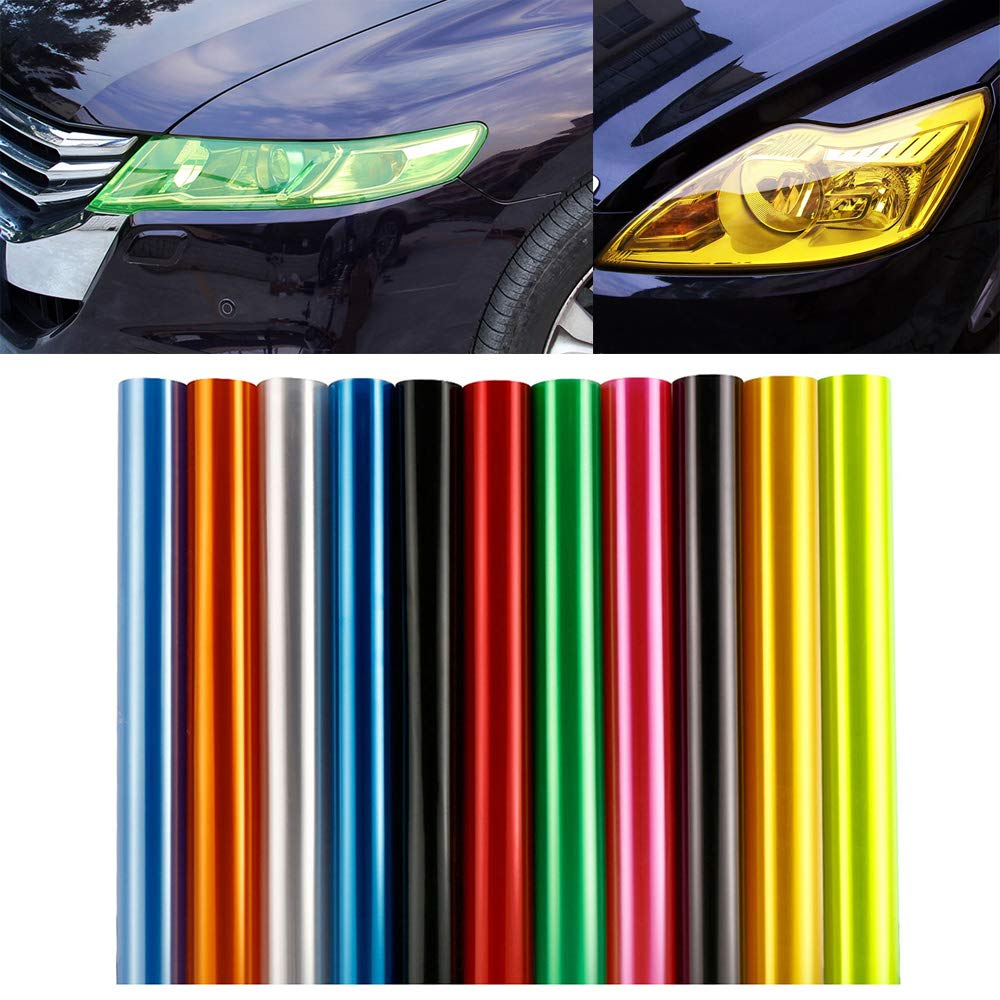 LEIWOOR 12 X 24 in Auto Car Tint Headlight Taillight Fog Light Vinyl Smoke Film Sheet Sticker Cover Automobiles Decal Car Styling Purple